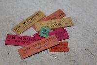 lot de 10 anciens jetons de carte publicitaire maurin (bois)