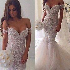 Meerjungfrau Spitze Herzenform Bestickt Brautkleider Brautjungfer Hochzeitskleid