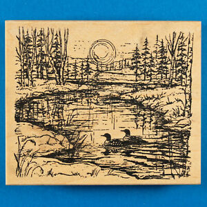 Lake Landscape with Loons Rubber Stamp by Northwoods - Sunset Sunrise Minnesota