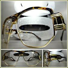 CLASSIC VINTAGE RETRO HIP HOP RAPPER Clear Lens EYE GLASSES Tortoise Gold Frame