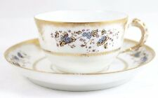 6 SETS ANTIQUE LEWIS STRAUS LIMOGES CHINA CUP SAUCER GILT WHITE BLUE FLORAL GOLD