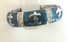 Lauren G. Adams Sterling Silver Blue Enamel Fleur de Lis Ring