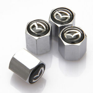 4x Universal Car Logo Auto Tyre Valve Stems Caps Tire Dust Coves Fit For Mazda