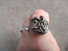 vintage RARE Brutalist Modern Sculptural Mexican Mexico Biker Ring 9