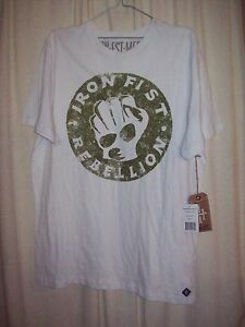 Mens Size L white IRON FIST Rebellion short sleeve tee / shirt - NWT !