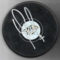Yannick Weber signed Nashville Predators NHL Logo Hockey Puck w/Cube