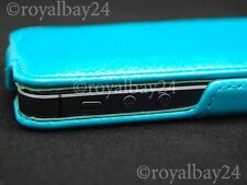 iPhone 5/5s Vegan Leder-Tasche flip-case Etui  Ledertasche Case Cover türkis