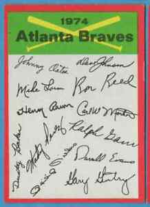 1974 Topps Unmarked Team Checklist Atlanta Braves
