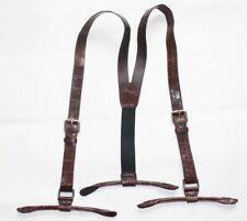 Suspenders for Men Alligator Crocodile Leather Button End Elastic Tuxedo Y Brown