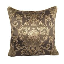 Satin Damask Pattern 18x18 Brown/Gold Decorative/Throw Pillow Case/Cushion Cover