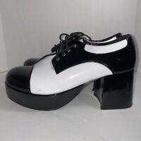 Vintage 70's 1301 Black White Disco Platform Shoes Men's Size 12/13