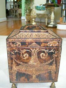 Maitland Smith Brown and Gold Carved Coromandel Tassel Feet Decorative Box