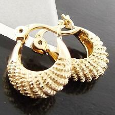FS991 GENUINE REAL 18K YELLOW G/F GOLD SOLID ANTIQUE DESIGN HOOP DROP EARRINGS