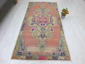 Turkish Rug 4.2x8.1 Organic Wool Vintage Tropical Oushak Tribal Navy Floor Mat