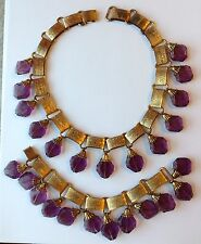 EARLY VINTAGE MIRIAM HASKELL MOLDED PURPLE GLASS BEAD BOOKCHAIN NECKLACE SET