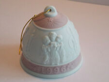 Lladro 1996 Xmas Bisque Bell Ornament - White with Deep Pink Decoration