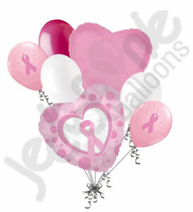 7 pc Breast Cancer Awareness Heart Balloon Bouquet Event Decoration Pink Ribbon