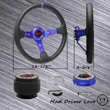 BLUE DEEP DISH STEERING WHEEL+HUB ADAPTER+QUICK RELEASE 90-95 MIATA RX-7 PORTEGE