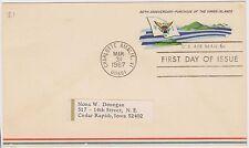 (Ed25) 1967 Usa Fdc 6c Virgin island anniversary