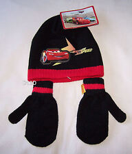 Disney Cars McQueen Boys Black Red Acrylic Beanie & Mittens Size 1 - 3 New
