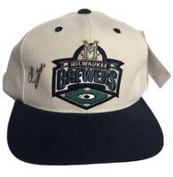 VTG Milwaukee Brewers MLB Autographed SnapBack Hat Cap Baseball Jim Gantner EUC