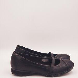Skechers Bikers Leather Flats Shoes Size 7.5 Black 47925 A597