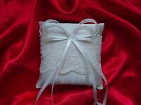 "Satin wedding ring cushion / pillow size 6""x6"" ( 15cmx15cm)- lace-WHITE or IVORY"