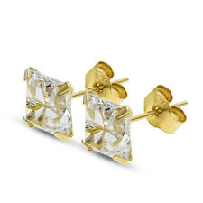 9CT YELLOW GOLD 6MM SQUARE CUT WHITE CZ CUBIC ZIRCONIA STUD EARRINGS  PIERCED