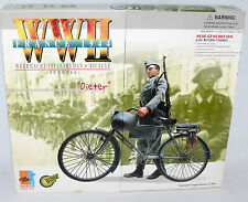 "DRAGON 1/6 WW2 France 1944 Wehrmacht German 12"" Soldier & YELLOW Bicycle DIETER"
