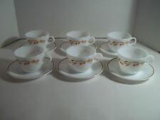 6 Corelle Pyrex Harvest Home Wheat Berries Cups and Saucers