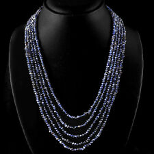 FABULOUS ELEGANT AAA 244.75 CTS NATURAL 5 LINE BLUE TANZANITE BEADS NECKLACE