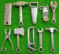 10Pcs Tibetan Silver 3D Tool Set of Charms Hammer-Pliers-Saw-Wrench & More PR335