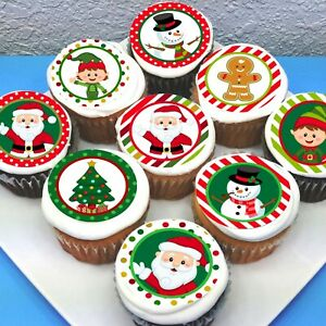 """Christmas Edible Pre-cut 2"""" Icing Cupcake Toppers  - Sheet of 15"""