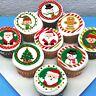 "Christmas Edible Pre-cut 2"" Icing Cupcake Toppers  - Sheet of 15"