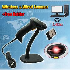 Wireless Laser Cordless Barcode Scanner Bar Code POS Reader + Free Stand Holder