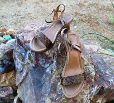 BRONZE Kenneth Cole 9M REACTION *BEADED* CLEAR N' BRITE Platform Wedge Sandals