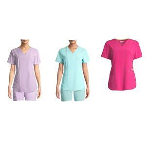 Scrubstar Seasonal Solids Contrast V-Neck Scrub Short Sleeve Top Colors Varies