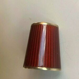 David Anderson Norway Sterling Silver Red Enamel Sewing THIMBLE Rare D-A 4 gilt