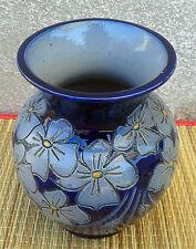Ancien petit vase en terre vernissée, déco florale, art pop, french pottery