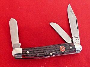 """vintage 4"""" closed Henckels Germany Red Bone 3 Blade Stockman Stock HK-3B knife"""