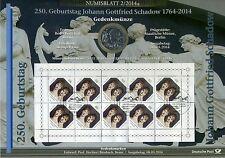 Numisblatt 2 / 2014 250 Geburtstag Johann Gott Schadow mit 10 Euro Münze KI1785