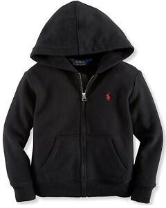 Polo Ralph Lauren Little Boys Long Sleeve Full Zip Hoodie Color Black Size 5 NWT
