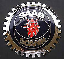 NEW Indoor/Outdoor Saab Badge/Emblem- Adhesive Backed- Chromed Brass
