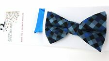 Alfani Men's Gable Gingham Pre-Tied Bow Tie & Solid Teal Blue Pocket Square