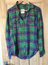Abercrombie & Fitch Plaid Button Up Green Checked Shirt Top S