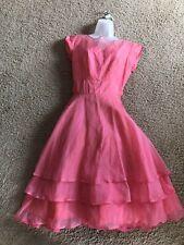 Vintage 1960s Sear's Kerrybrooke Pink SILK Evening Dress Tag Size 12