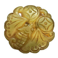 Antique Chinese Yellow Jade Or Stone Pendant Carving Asian Art Nephrite Old