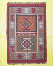 Area Floor Rug Home Decor Hand Knotted Geometric 4x6 Ft Wool Jute Handmade Kilim