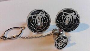 Vintage set silver tone black enamel cufflinks tie pin