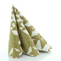 50 Serviette Gitte in Gold-Schwarz aus Linclass® Airlaid 40x40cm - Weihnachten
